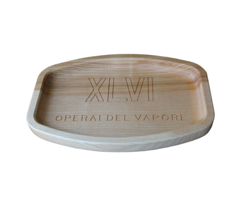 Light wood tray with XLVI logo engraving steam workers Operai del vapore