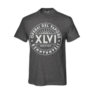 Light grey tshirt with XLVI graphics steam workers operai del vapore